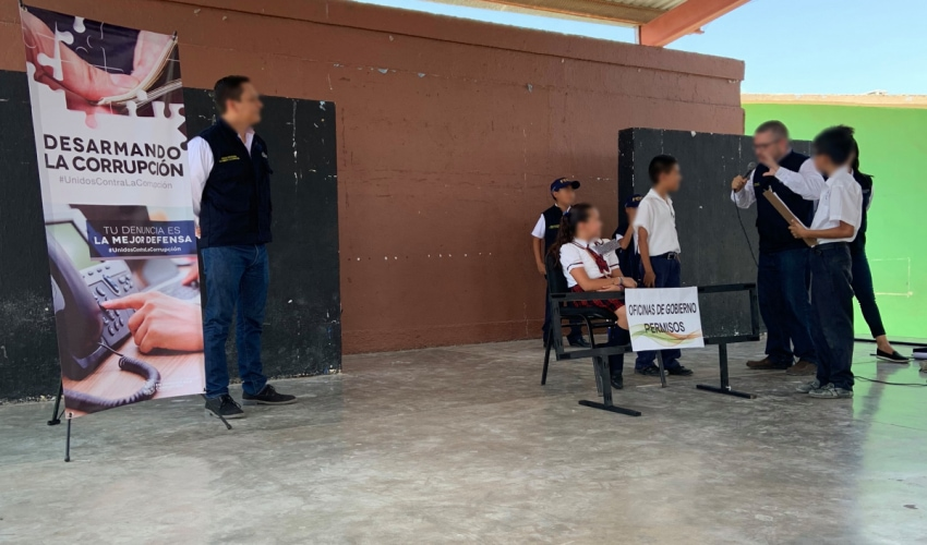 Campaign «Disarming the Corruption» in the primary Teacher Emma Pérez Ibarra in Nuevo Laredo, Tamaulipas